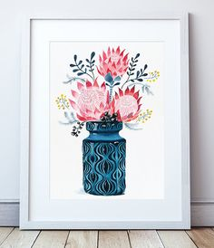 Proteas in West German Onion Vase Fine Art Print by Sally