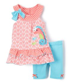 Nannette Coral Undersea Knit Tunic & Aqua Shorts - Girls | zulily