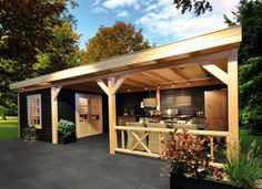 She shed al fresco patio pergola Outdoor Rooms, Outdoor Gardens, Outdoor Living, Outdoor Decor, Backyard Bar, Garden Buildings, Outside Living, Building A Shed, Building Plans