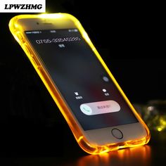 Newest Super LED Lightning Flash Mobile Phone Bag Case for iPhone 6 6S Silicon Transparent Protective Shell Soft TPU Back Cover