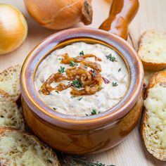 French Onion Soup Dip with Gruyere Crostini