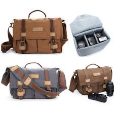 Waterproof Canvas Camera Shoulder Bag Padded Rucksack For DSLR Canon Nikon Sony