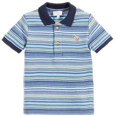 Baby Boys Blue Striped 'Lenzo' Polo Shirt, Paul Smith Junior, Boy