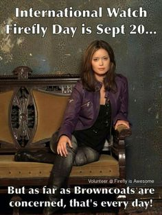 Yes, April 24 is also a Watch Firefly Day, but Sept 20 is the official Anniversary of it's original showing. And it's my Bday! Cool way to celebrate, huh? Serenity Now, Firefly Serenity, Sci Fi Movies, Movie Tv, Space Movies, Firefly Art, Malcolm Reynolds, Summer Glau, Sci Fi Shows