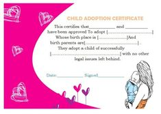 Baby Birth Certificate Template Fascinating Adoption Birth Certificate  Adoption Certificate Template .