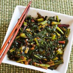 Recipe for Spicy Asian Stir-Fried Swiss Chard; if you're lucky enough to still be getting chard from the garden or CSA box, I highly recommend this recipe! [from Kalyn's Kitchen] Veggie Dishes, Vegetable Recipes, Vegetarian Recipes, Healthy Recipes, Healthy Cooking, Healthy Eating, Cooking Recipes, Clean Eating, Swiss Chard Recipes