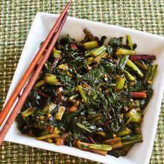 Spicy Asian Stir-Fried Swiss Chard, from Kalyn's Kitchen.