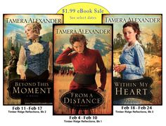 Beginning 2/4/14, the three Timber Ridge Reflections novels are on sale FOR SELECT DATES PER BOOK during February for $1.99. Thanks for spreading the word, friend!  From a Distance, Book 1 (2/4-2/10)  Beyond This Moment, Book 2 (2/11-2/17)  Within My Heart, Book 3 (2/18-2/24)