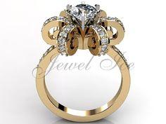 14k yellow gold diamond unique floral engagement ring bridal