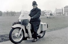 Plod astride a fire-breathing Velocette LE. Uk Cop Humour, Make Way For Ducklings, Police Uniforms, Helmet Design, Smart Car, Family Album, My Childhood Memories, Vintage Motorcycles, Motorbikes