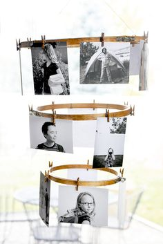 Embroidery Hoop Photo Display. What an awesome way to display photos or your child's artwork!