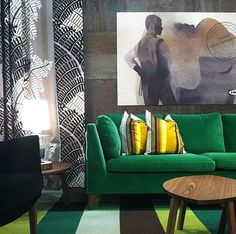 IKEA Stockholm green velvet sofa. Available in August.