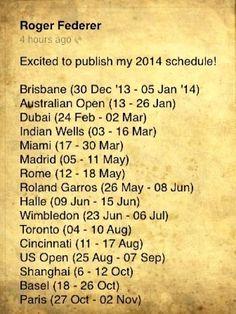 Roger Federer 2014 schedule.