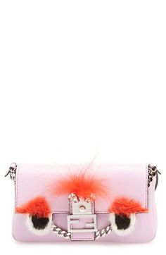 Fendi  Monster  Genuine Rabbit Fur   Genuine Fox Fur Micro Baguette  available at   c1b893d48e1e0
