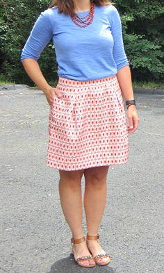 JCF periwinkle sweater + JCF geometric jacquard skirt