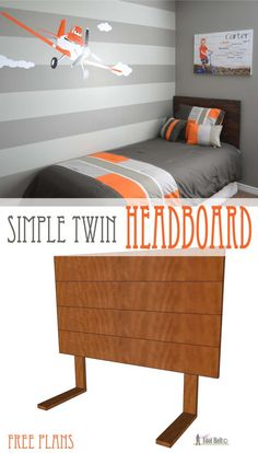 Free Woodworking Plans Super cute gray and orange boys room inspired by racing legend Dusty! Free woodworking plans for an easy DIY - simple twin headboard. - Build this simple headboard for a twin bed in an hour. Orange Boys Rooms, Grey Boys Rooms, Bedroom Orange, Bedroom Red, Boy Rooms, Bedroom Wall, Living Rooms, Boy Headboard, Bookcase Headboard