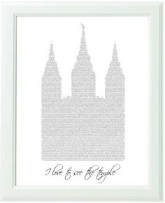 Inspirational Christian Black and White Typography Art Print I Love To See The Temple -8x10 LDS Primary Song. $20.00, via Etsy.
