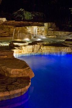 Beautifully blue pool waterfalls