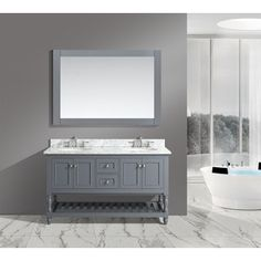 Shop for 'Silvia' 60-inch Bathroom Sink Vanity Set with White Marble Top and more for everyday discount prices at Overstock.com - Your Online Furniture Store!