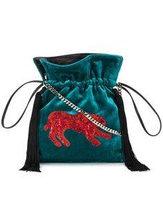 Shop Les Petits Joueurs Trilly sequin leopard pouch.