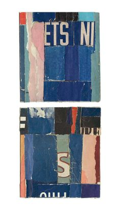 """Blue Note #1 and 2,"" collage by Lisa Hochstein, made from salvaged paper"