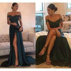 2018 Elegant Dark Green Prom Dresses Side Split Lace A Line Off the Shoulder Floor Length High Long Evening Dresses Custom Formal Dress