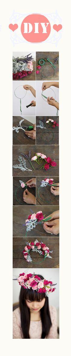 Find on : http://bridalmusings.com/2012/09/wild-roses-and-lavender-diy-floral-crown-huckleberry-karen-designs/    Pretty idea <3