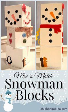 Mix n match snowman blocks from Chicken Babies