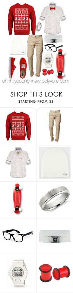 """""""Merry Christmas! (:"""" by ohhhifyouonlyknew ❤ liked on Polyvore featuring BOSS Orange, Hollister Co., Neff, Quiksilver, Vans, Blue Nile, G-Shock, Adax, my style and christmas outfit"""