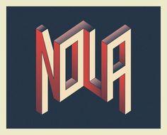 Bram Johnson, NOLA, Adobe Illustrator, Adobe Photoshop, isometric lettering