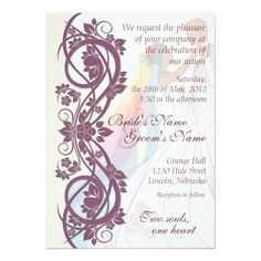 Scroll Rainbow Bride and Groom Wedding Invite-2B 5x7 Paper Invitation Card