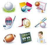 Vector cartoon style icon set. Part 33. Sport — Vetor de Stock