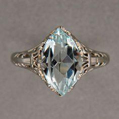 Vintage-Art-Deco-1940s-3-00ct-Marquise-Aqua-1940-14k-White-Gold-Filigree-Ring