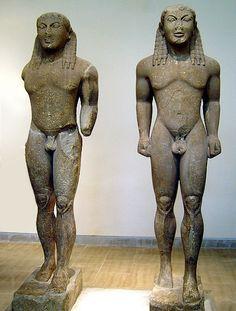 cleobi e bitone statue: VI secolo a. C.; marmo scolpito; conservato a Delfi.