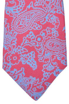 Kiton Sevenfold Tie Red Blue Paisley by Kiton | Tie Deals