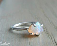 Raw Opal Ring Rough Fire Opal Jewelry October by Gemologies