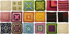 Granny squares - Olika typer av mormorsrutor att virka.