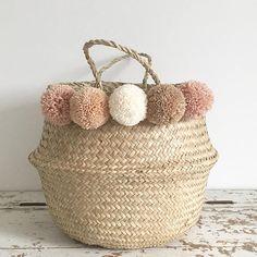 Seagrass pompom basket storage nursery for toy of laundry