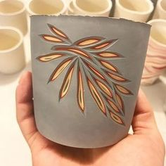 It all starts with little sketches before I connect then carving the entire surface #valerianceramics #coloredporcelain #colors #clay #carved #porcelain #ceramics #design