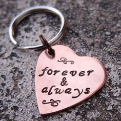 """Valentine's 1"""" Copper Heart keychain - Forever and Always  -Made to order- on Etsy, $14.00"""