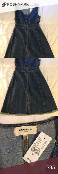 Pacsun denim dress new with tags Size xs dress in a medium wash. Brand new and never worn before. Has side cutouts and detailing. This dress can be worn casually or dressed up! Feel free to make an offer! PacSun Dresses Mini