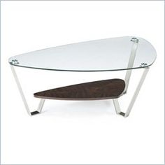 Magnussen Pollock Tail Table In Brushed Nickel And Walnut