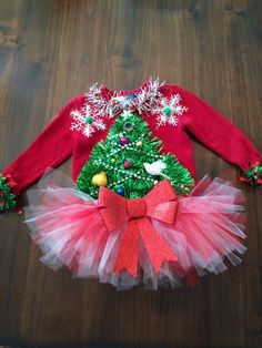 Adorable toddler 3t Custom Ugly Christmas Sweater 2 turtle doves and pear tree plus tutu!! by tackyuglychristmas on Etsy