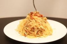 Spaghetti Squash Carbonara for only 215 calories and 7 weight watchers points plus