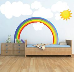 Rainbow Wall Decal Kids Bedroom Rainbows, Rainbow Wall Art, Nursery Rainbow Design, Kids Room Rainbow Wallpaper Mural Decal Rainbow, Rainbow Wall Decal Nursery Rainbow Rainbow by PrimeDecal Rainbow Bedroom, Rainbow Nursery, Rainbow Room Kids, Girl Room, Baby Room, Child's Room, Girl Nursery, Wall Mural Decals, Wall Art