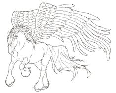 Pegasus Lineart by ReQuay on DeviantArt Horse Coloring Pages, Coloring Book Art, Colouring Pages, Adult Coloring Pages, Pegasus, Realistic Hair Drawing, Glass Etching Stencils, Horse Drawings, Art Template