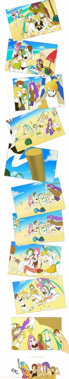 Vocaloid Beach Day Rin Len Kagamine Luka Megurine Miku Hatsune Meiko Katio Shion Gakupo Kaumi
