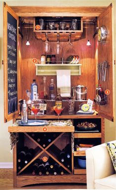 Save the beautiful old entertainment center – turn it into a home bar – furnit… - Diy Furniture Teens Ideen Home Bar Furniture, Refurbished Furniture, Repurposed Furniture, Rehabbed Furniture, Armoire Bar, Bar Hutch, Armoire Makeover, Furniture Makeover, Old Entertainment Centers