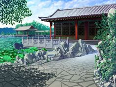 Aesthetic Desktop Wallpaper, Aesthetic Backgrounds, Wallpaper Backgrounds, Casa Anime, Episode Backgrounds, Chinese Landscape, Painting Of Girl, Classic Paintings, Chinese Architecture