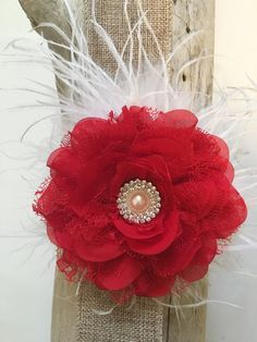 Holiday Clip, Holiday Headband, Red White Clip, White Red clip, Baby Holiday Headband, Red Pearl clip, Flower Girl Hair Clip, Portrait Photo